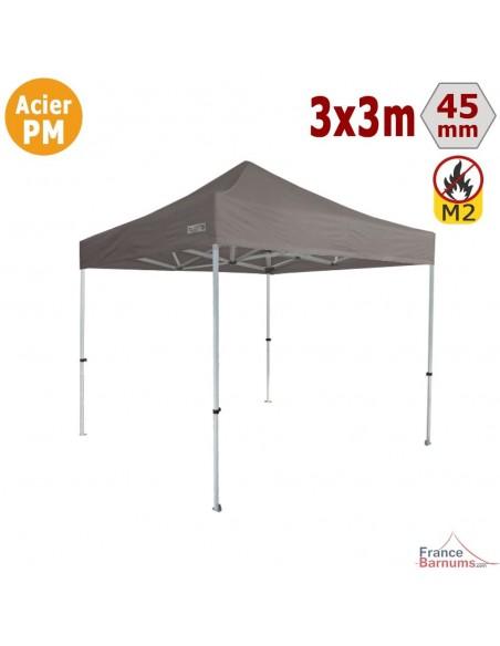 Barnum Pliant - Stand Acier Premium M2 3x3m TAUPE 380gr/m²