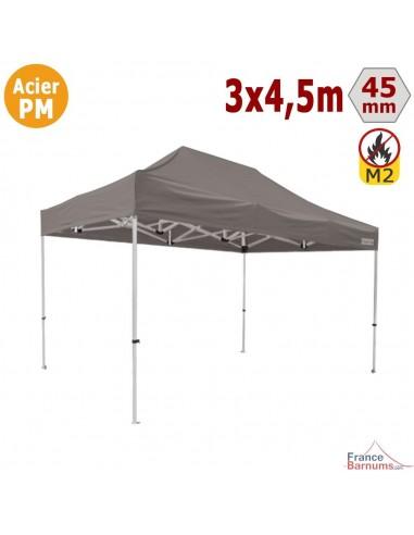 Barnum Pliant - Stand Acier Premium M2 3x4,5m TAUPE 380gr/m²