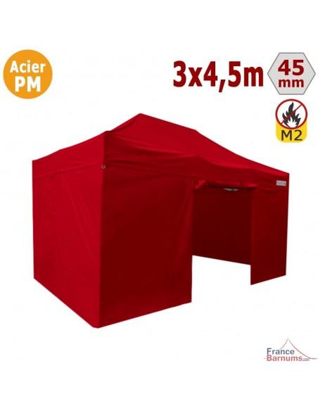 Barnum Pliant - Stand Acier Premium M2 3x4,5m ROUGE + Pack Côtés 380gr/m²