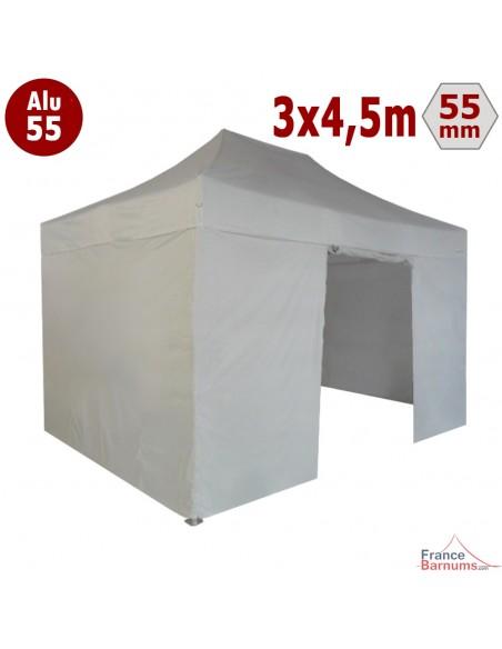 Barnum pliant - Chapiteau Alu 55 3mx4,5m BLANC avec Bâches Toit et Côtés en Polyester 320gr/m²