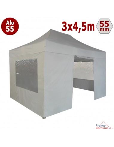 Barnum pliant - Chapiteau Alu 55 3mx4,5m BLANC en Polyester avec Pack Fenêtres