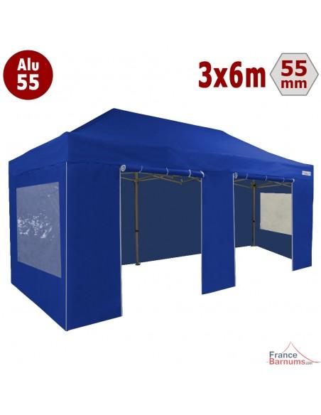 Barnum pliant - Chapiteau Alu 55 3mx6m BLEU en Polyester avec Pack Fenêtres