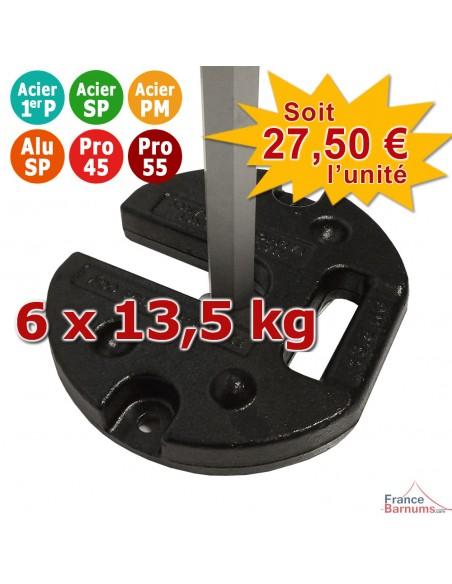 Pack de 6 POIDS ACIER 13,5KG pour barnum Acier Premium, Alu Semi-Pro, Pro 45 et Pro 55