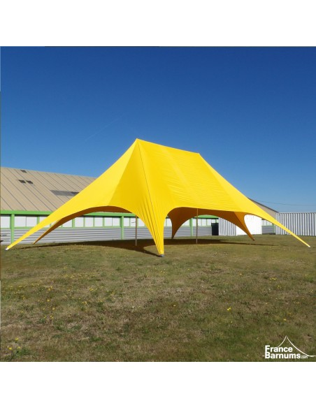 Tente de réception - Tente étoile JAUNE 22m - 2 mâts - Aluminium + Polyester 230g/m²