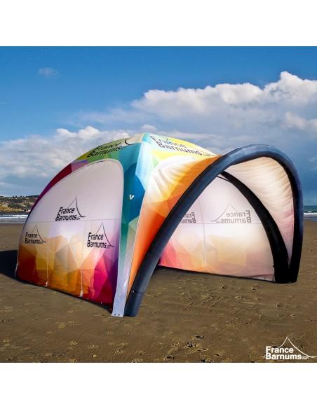 Tente gonflable imprimée avec auvent et paroi double porte