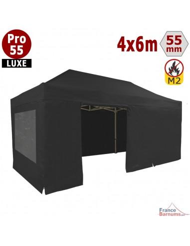 Barnum Alu Pro 55 LUXE M2 4mx6m NOIR + Pack Fenêtres 580gr/m²