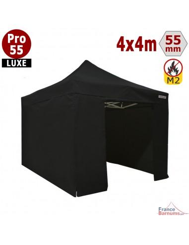 Barnum pliant 4 x 4 Pro 55 Luxe noir avec pack murs PVC 580g/m2