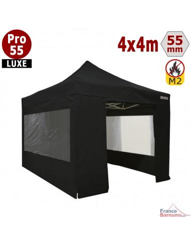 Barnum pliant 4x4m noir Pro 55 Luxe PVC 580g/m2 avec pack fenêtres