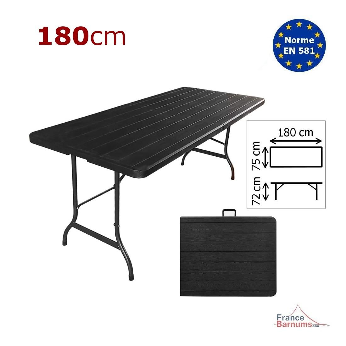 Table de réception rectangulaire noire imitation bois de 7cm pliante