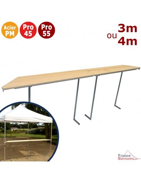 Table Comptoir BUVETTE Pliante de 3m ou 4m avec Plateau en bois verni