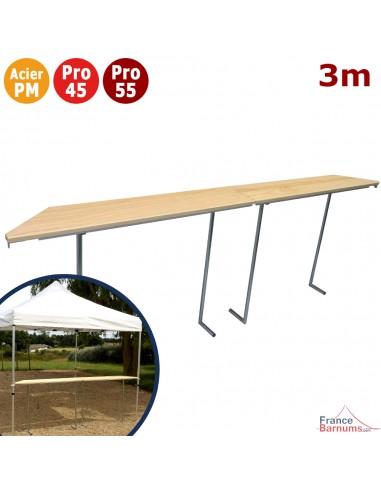 Table haute console présentoir comptoir buvette pliante 3m avec plateau en bois verni