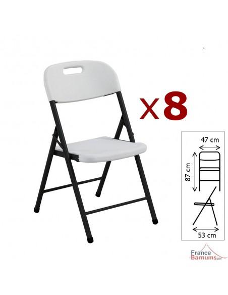 8 chaises pliantes blanches