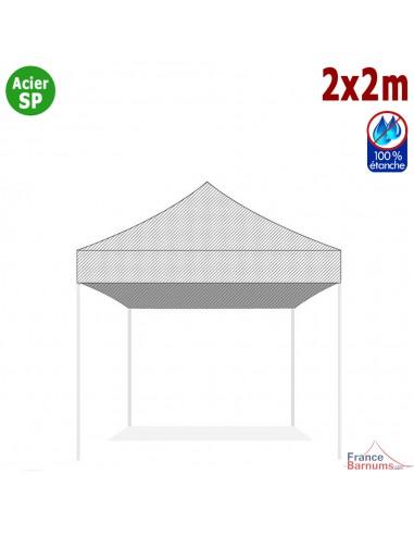 Bâche de toit BLANCHE 2x2m pour barnum pliant Gamme Acier Semi Pro