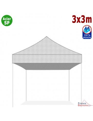 Bâche de toit BLANCHE 3x3m pour barnum pliant Gamme Acier Semi Pro
