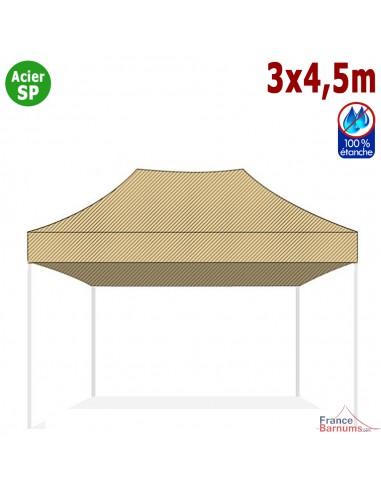 Bâche de toit BEIGE 3x4.5m pour barnum pliant Gamme Acier Semi Pro