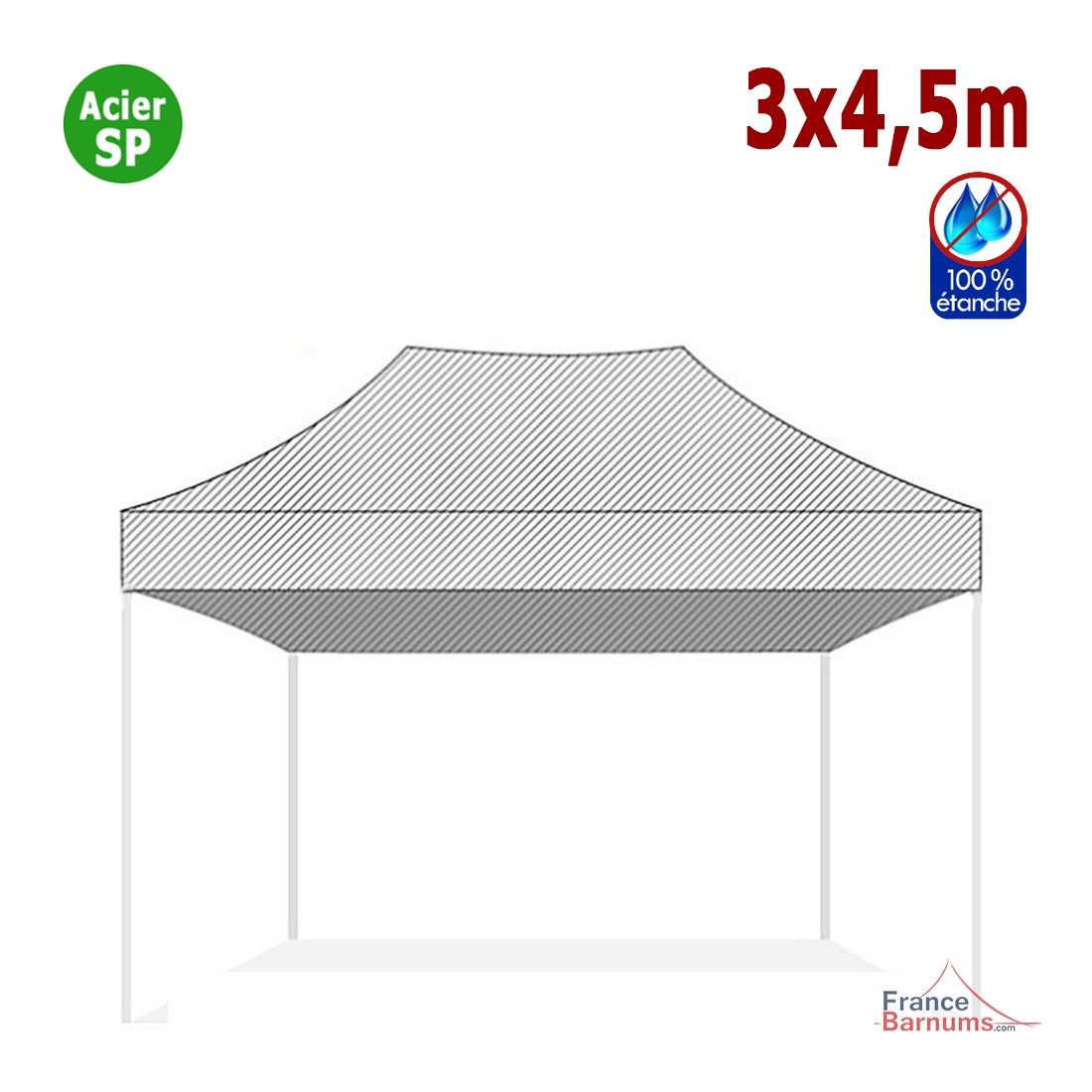 Bâche de toit 3x4,5m pour barnum pliant Gamme Acier Semi Pro