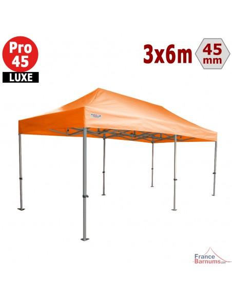 Barnum pliant - Tente pliante Alu Pro 45 LUXE 3mx6m ORANGE 380gr/m²