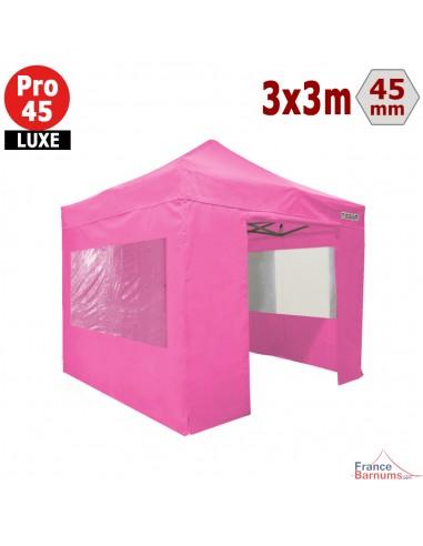 Barnum pliant - Tente pliante Alu Pro 45 LUXE M2 3mx3m ROSE + Pack Fenêtres 380gr/m²