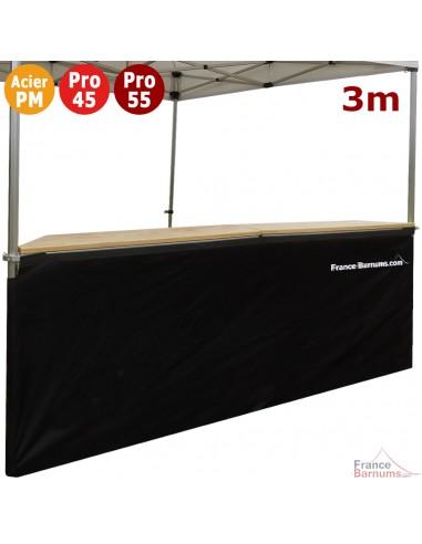 Jupe de table comptoir de 3m en POLYESTER 380gr/m² NOIRE