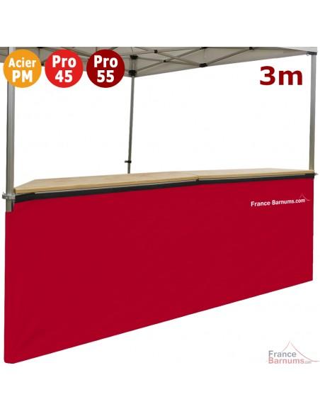 Jupe de table comptoir de 3m en POLYESTER 380gr/m² ROUGE