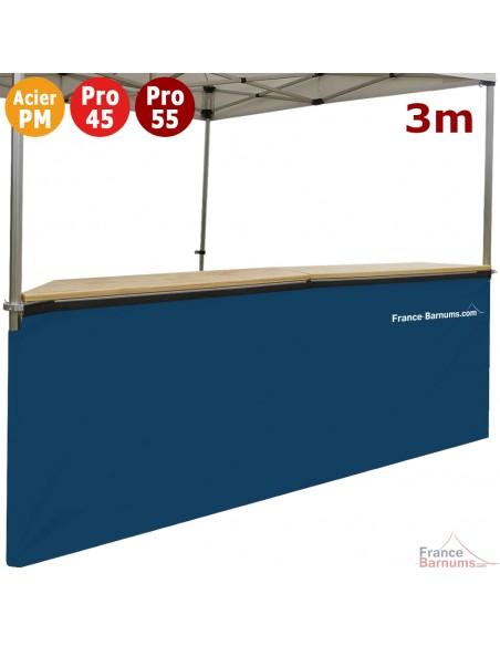 Jupe de table comptoir de 3m en POLYESTER 380gr/m² BLEUE