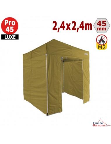 Barnum pliant - Tente pliante Alu Pro 45 LUXE M2 2,4mx2,4m VERT DORÉ + Pack Côtés 380gr/m²