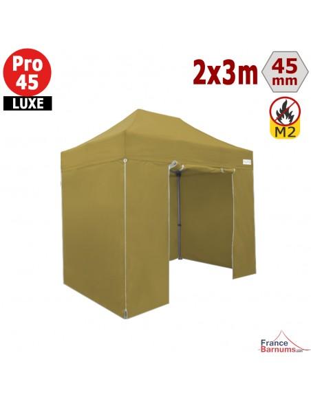 Barnum pliant Aluminium Pro 45 LUXE M2 2mx3m VERT DORÉ + Pack Côtés 380gr/m²