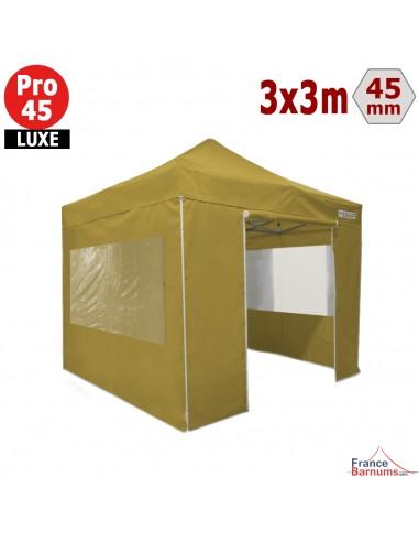 Barnum pliant Alu Pro 45 LUXE M2 3mx3m VERT DORÉ + Pack Fenêtres 380gr/m²