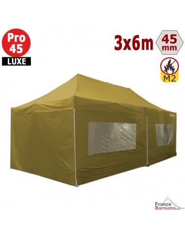 Barnum pliant Alu Pro 45 LUXE M2 3mx6m VERT DORÉ + Pack Fenêtres 380gr/m²