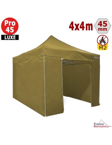 Barnum pliant Alu Pro 45 LUXE M2 4mx4m VERT DORÉ + Pack Côtés 380gr/m²