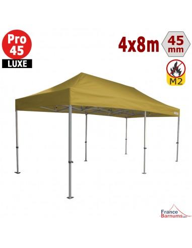 Barnum pliant - Tente pliante Alu Pro 45 LUXE M2 4mx8m VERT DORÉ 380gr/m²