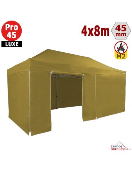 Barnum pliant - Tente pliante Alu Pro 45 LUXE M2 4mx8m BLANC + Pack Côtés 380gr/m²