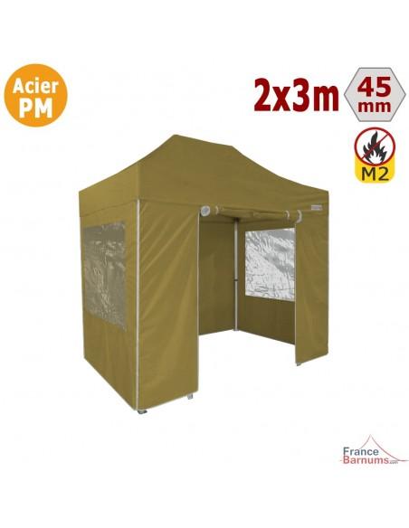Barnum Pliant - Stand Acier Premium M2 2x3m VERT DORÉ + Pack Fenêtres 380gr/m²