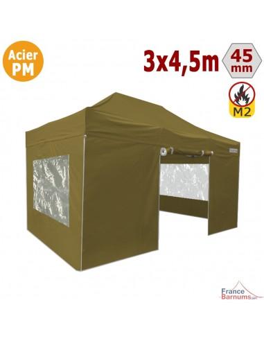 Barnum Pliant Acier Premium M2 3x4,5m VERT DORÉ + Pack Fenêtres 380gr/m²