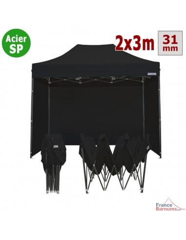 Barnum pliant - Tonnelle Acier Semi Pro 2mx3m NOIR avec Pack 4 Côtés